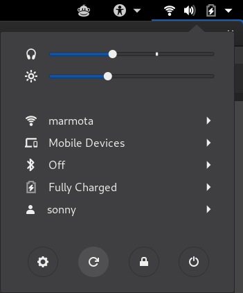 Screen rotation enabled in GNOME status